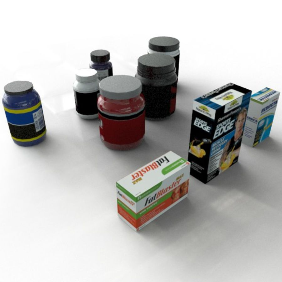 Vitamin Bottles and Boxes royalty-free 3d model - Preview no. 3