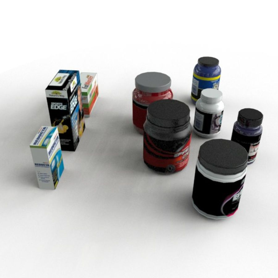 Vitamin Bottles and Boxes royalty-free 3d model - Preview no. 5