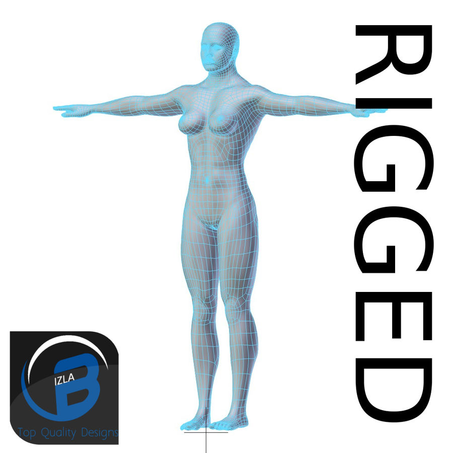 RIGGED Muscle Woman Base Mesh ВЫСОКАЯ ПОЛИ royalty-free 3d model - Preview no. 1