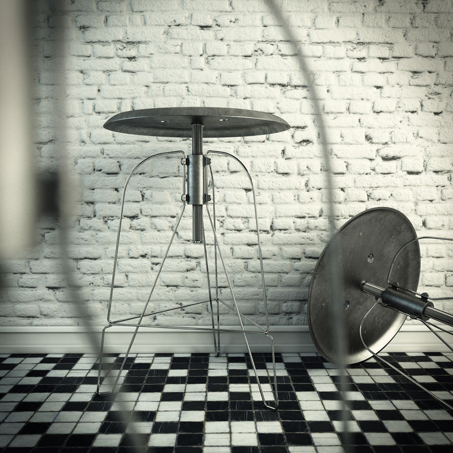 Swivel Stool Metal royalty-free 3d model - Preview no. 3