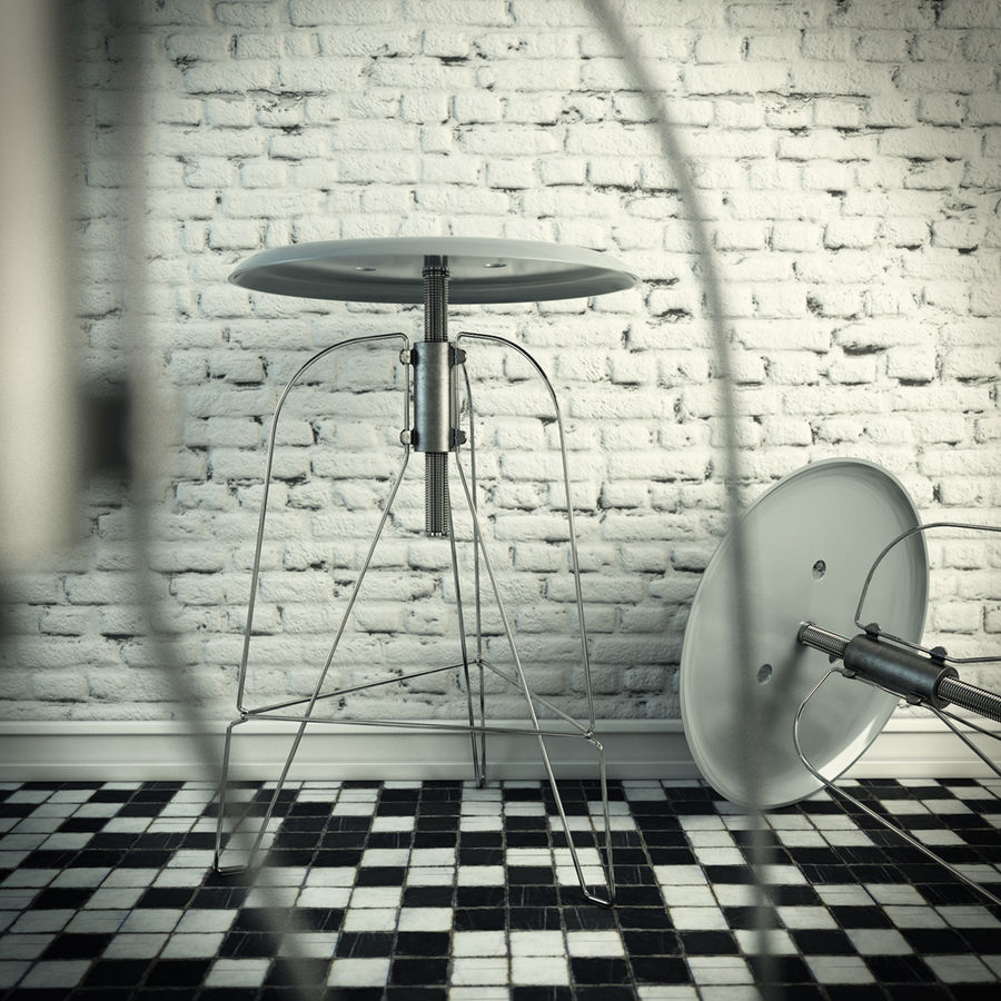 Swivel Stool Metal royalty-free 3d model - Preview no. 2