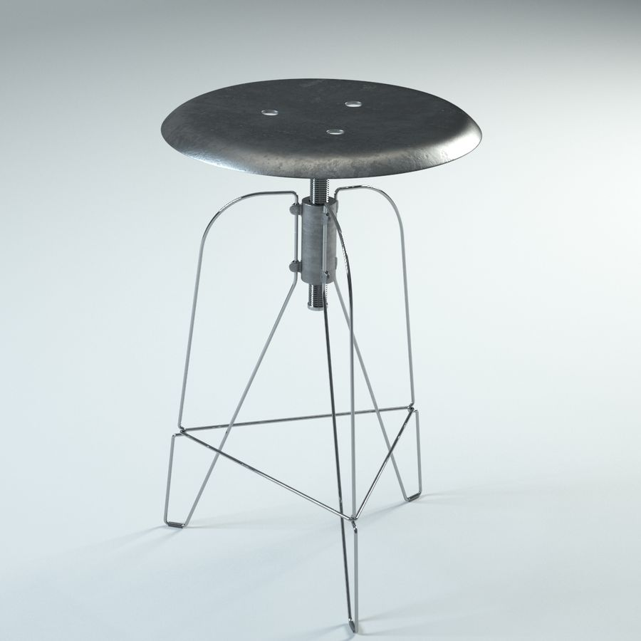 Swivel Stool Metal royalty-free 3d model - Preview no. 6