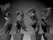 Estátua de cisnes negros 3d model