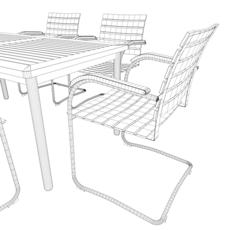 Cantilever Möbler Set Rostfritt Stål & Teak 02 royalty-free 3d model - Preview no. 7