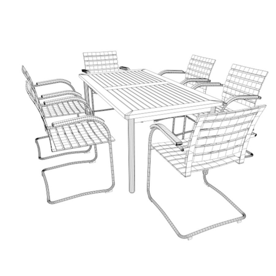 Cantilever Möbler Set Rostfritt Stål & Teak 02 royalty-free 3d model - Preview no. 6