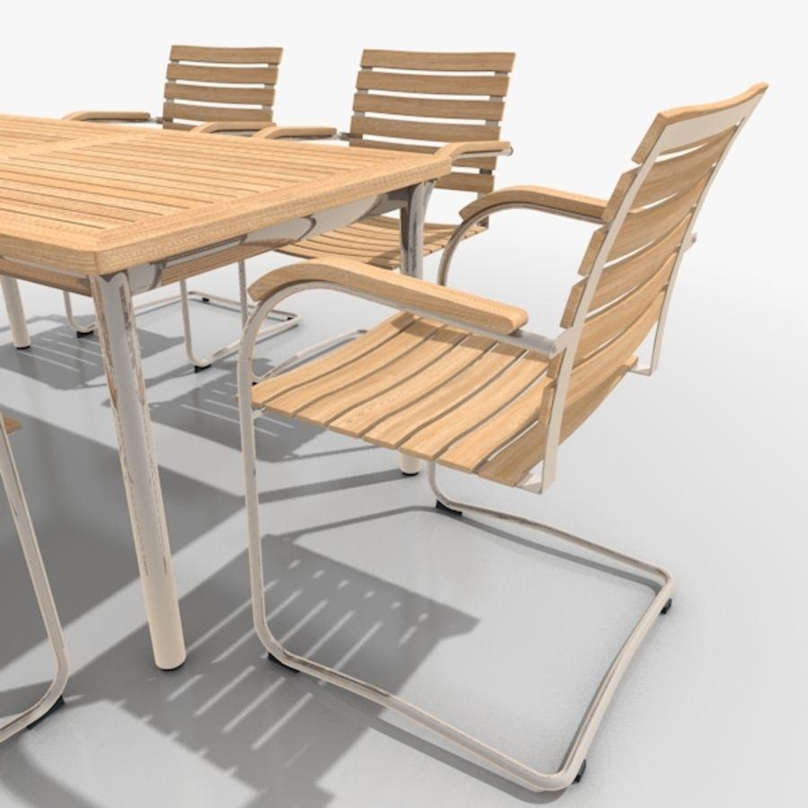 Cantilever Möbler Set Rostfritt Stål & Teak 02 royalty-free 3d model - Preview no. 3