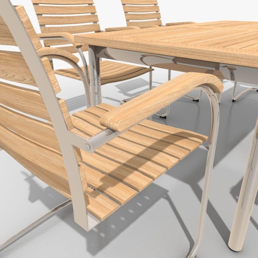 Cantilever Möbler Set Rostfritt Stål & Teak 02 royalty-free 3d model - Preview no. 4
