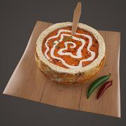 Food - Soup in Bread 3d model