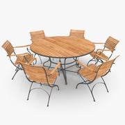 Klassisk möbel Stål och Teak 01 3d model
