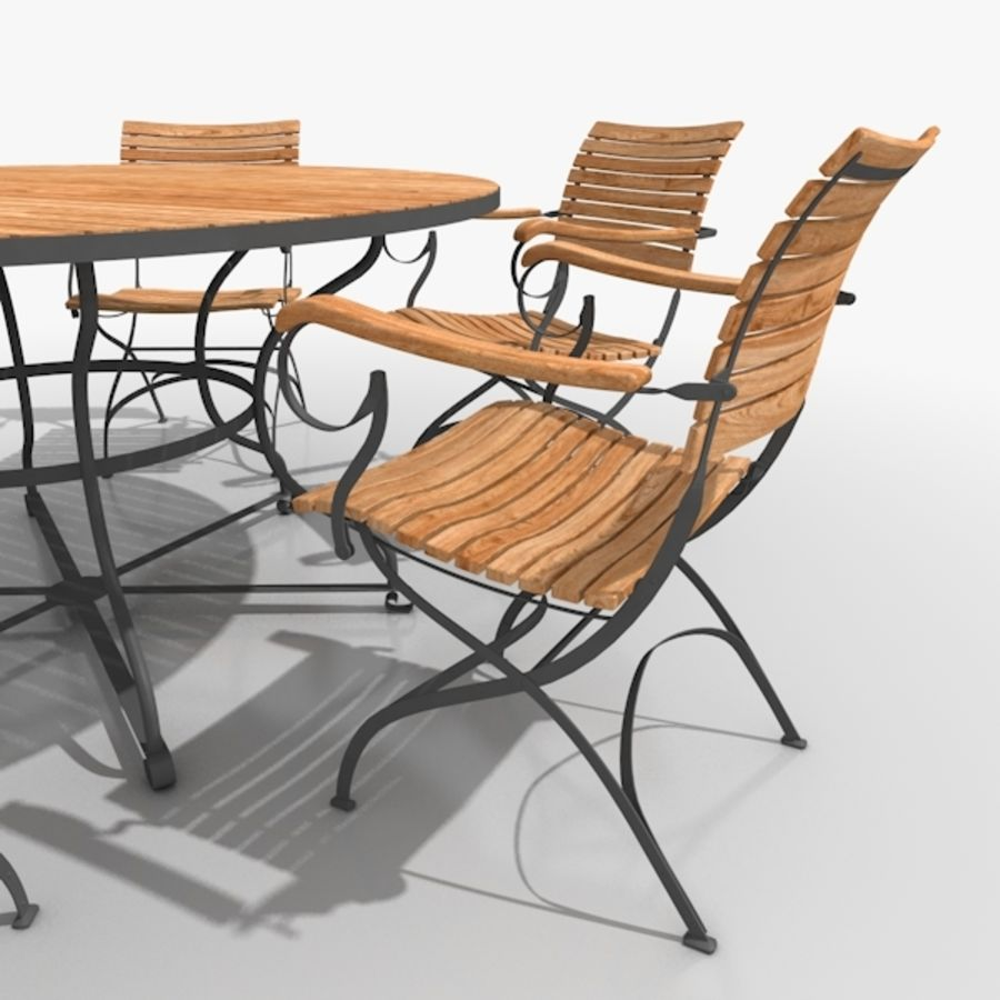 Klassisk möbel Stål och Teak 01 royalty-free 3d model - Preview no. 3