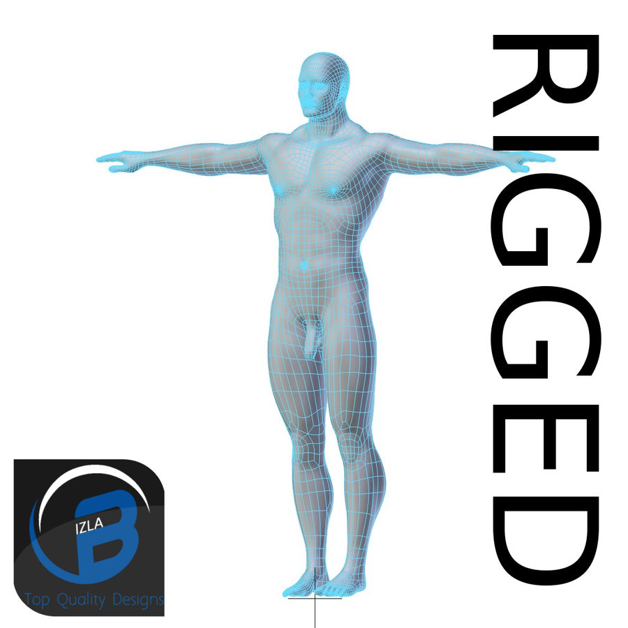 RIGGED Muscular Man Base Mesh HIGH POLY royalty-free 3d model - Preview no. 1