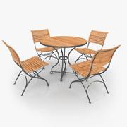 Klassisk Möbel Stål & Teak 02 3d model