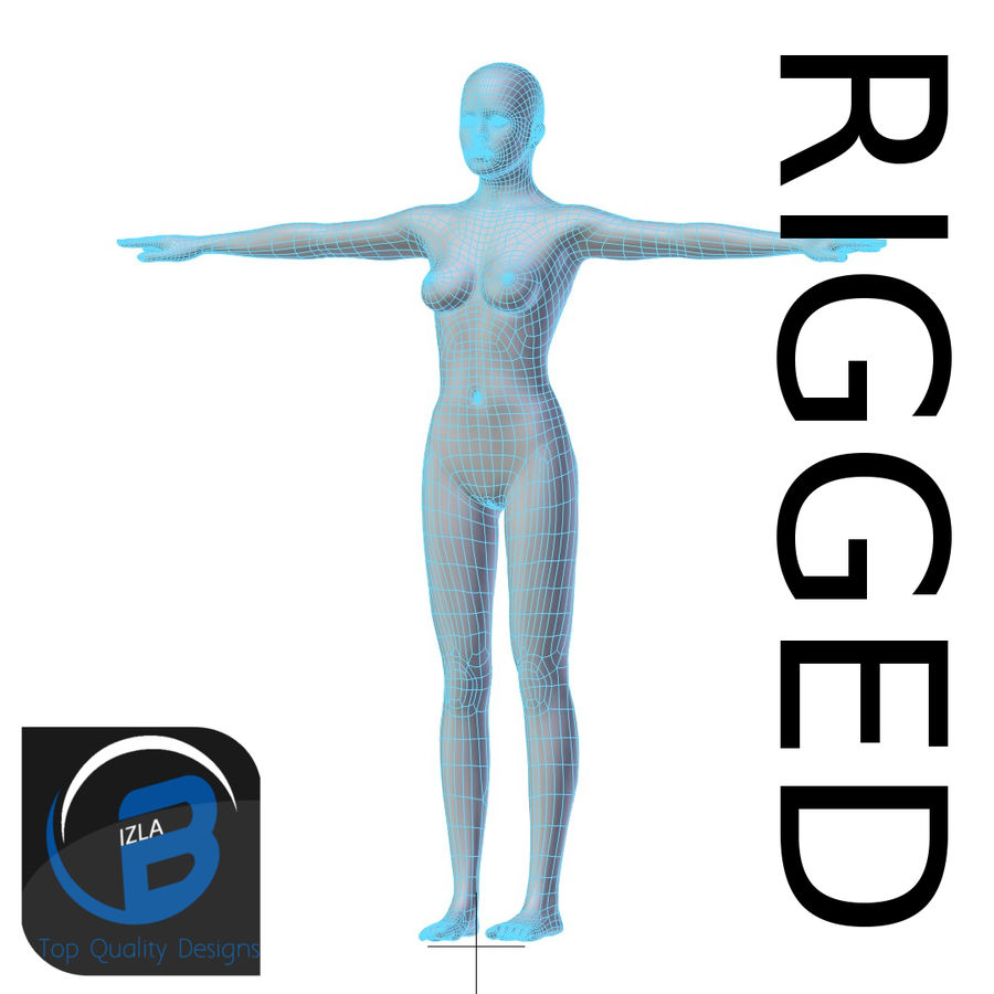 RIGGED Young Woman Base Mesh HIGH POLY royalty-free 3d model - Preview no. 1