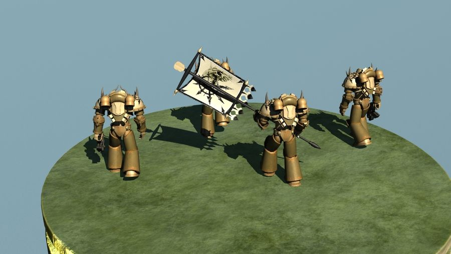 Chaos marine squad rigged and animated 3D Model $29