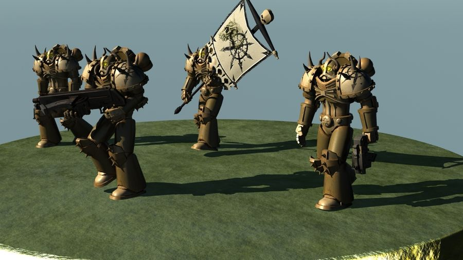 Chaos marine squad rigged and animated 3D Model $29 -  unknown  max