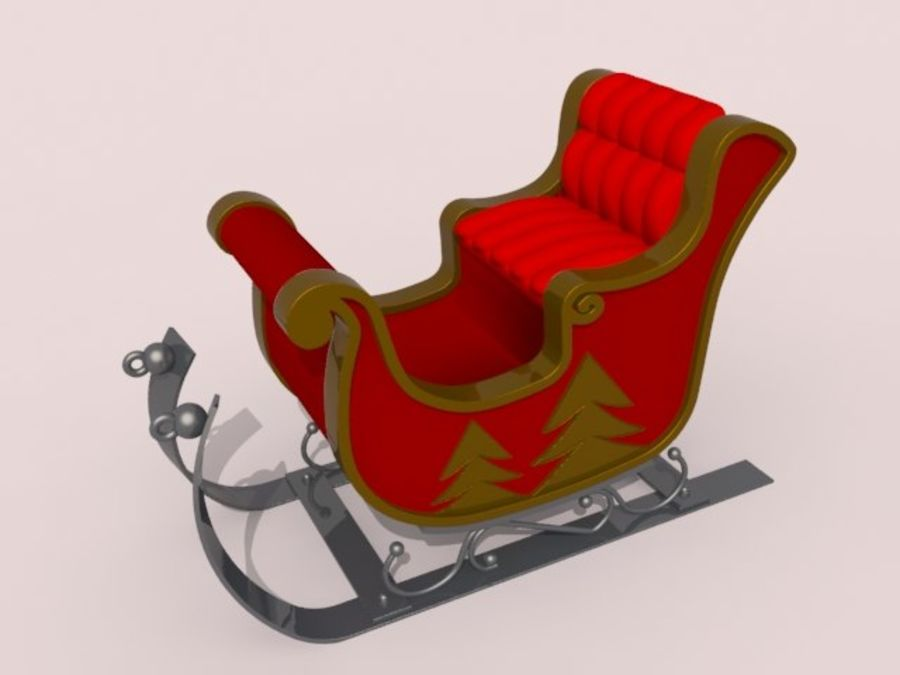 Père Noël en traîneau royalty-free 3d model - Preview no. 1