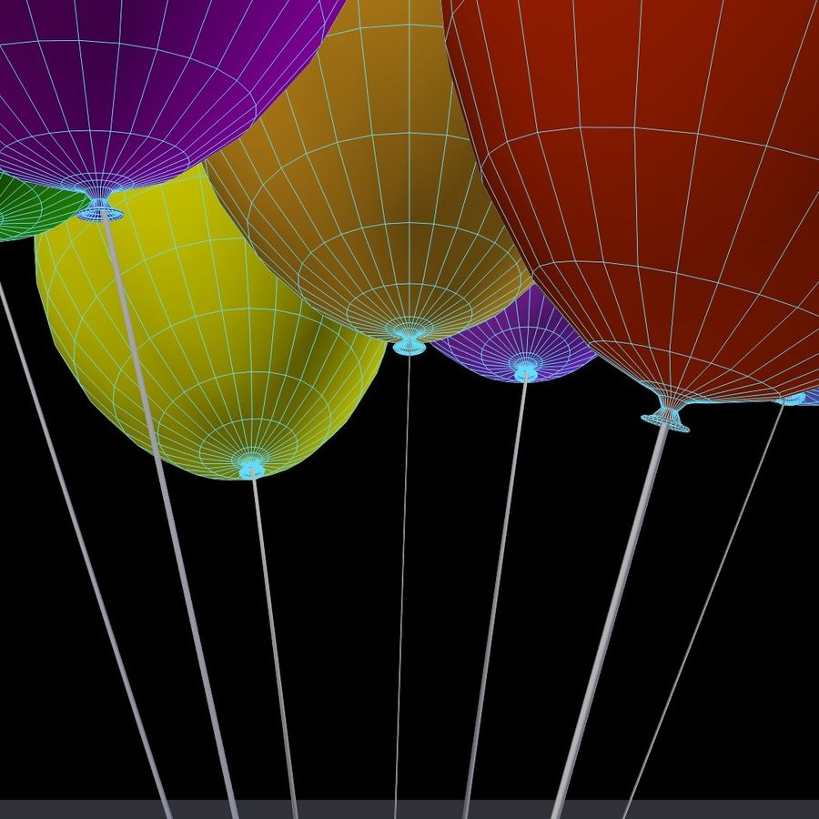 Bouquet de ballons royalty-free 3d model - Preview no. 8