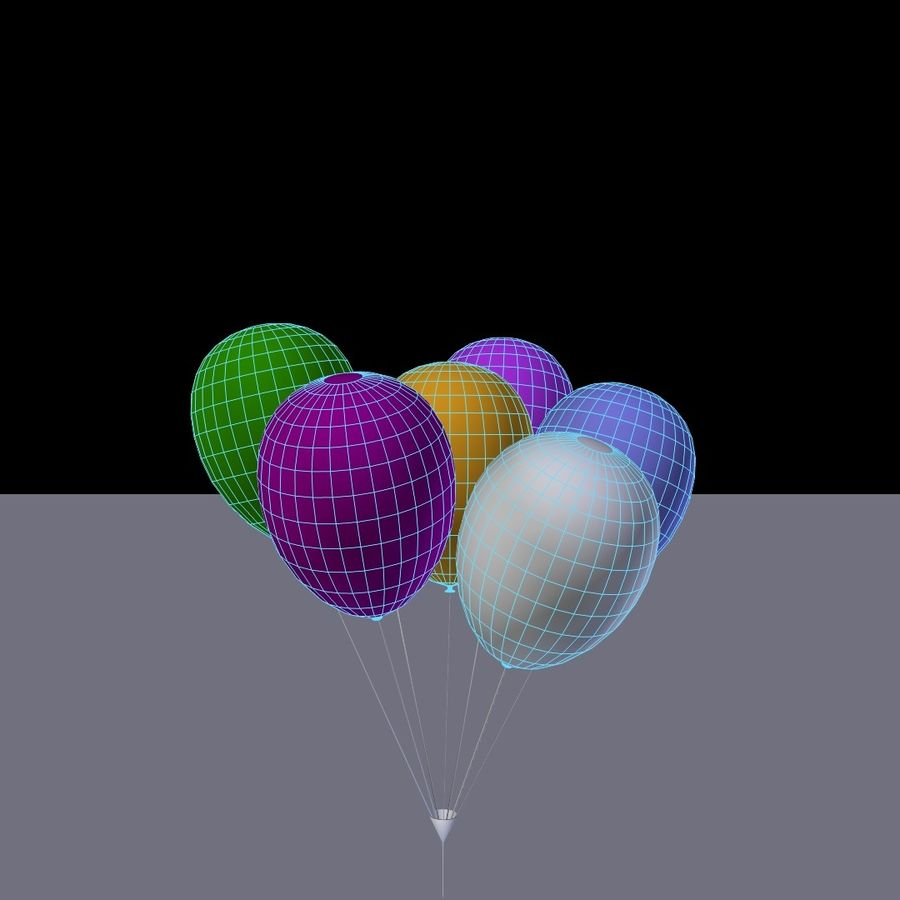 Bouquet de ballons royalty-free 3d model - Preview no. 2