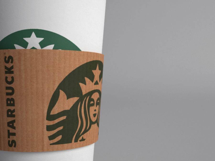 Starbucks paper Cup royalty-free 3d model - Preview no. 7