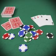 Pokerchips en -kaarten 3d model