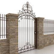 Portão e cerca de metal 2 3d model