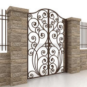 Metal gate and fence 3 3d model