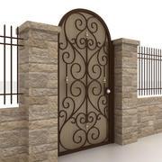 Portão e cerca de metal 4 3d model