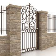 Portão e cerca de metal 5 3d model