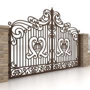 Portão e cerca de metal 1 3d model