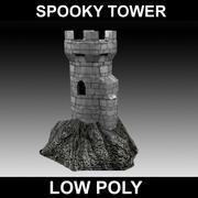 griezelige kasteeltoren - laag poly 3d model