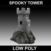 spooky castle tower - low poly 3d model