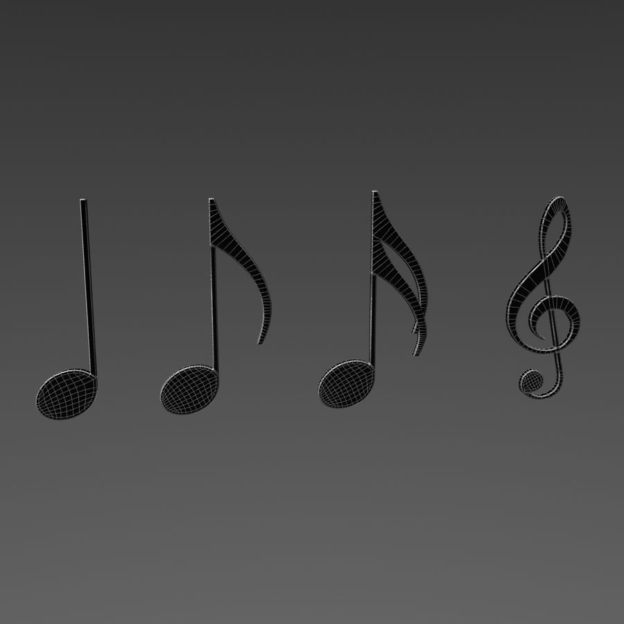 Musical Notes royalty-free 3d model - Preview no. 8