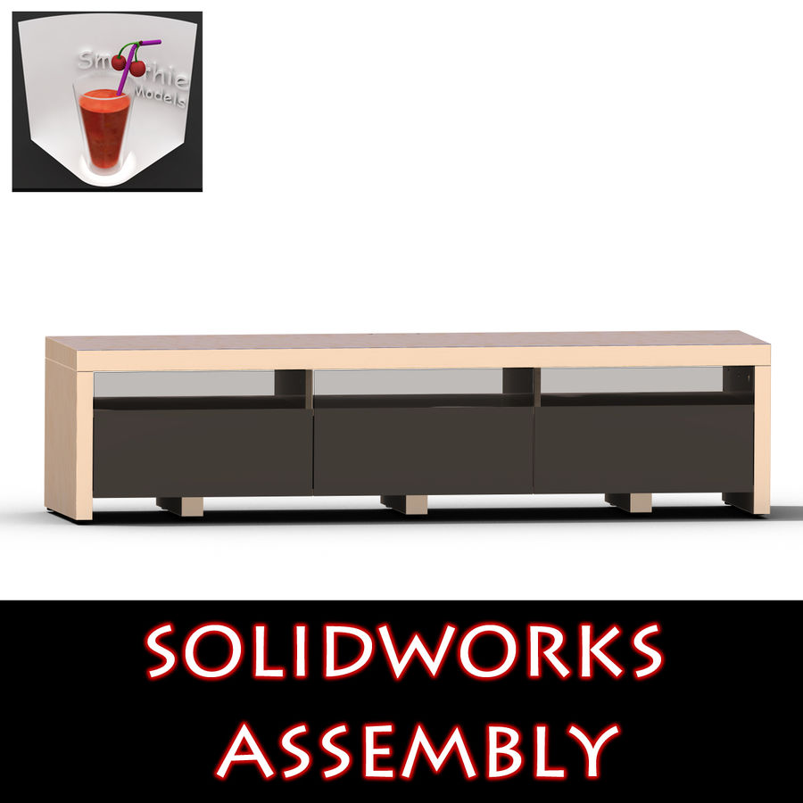 TV Furniture Drawers royalty-free 3d model - Preview no. 1