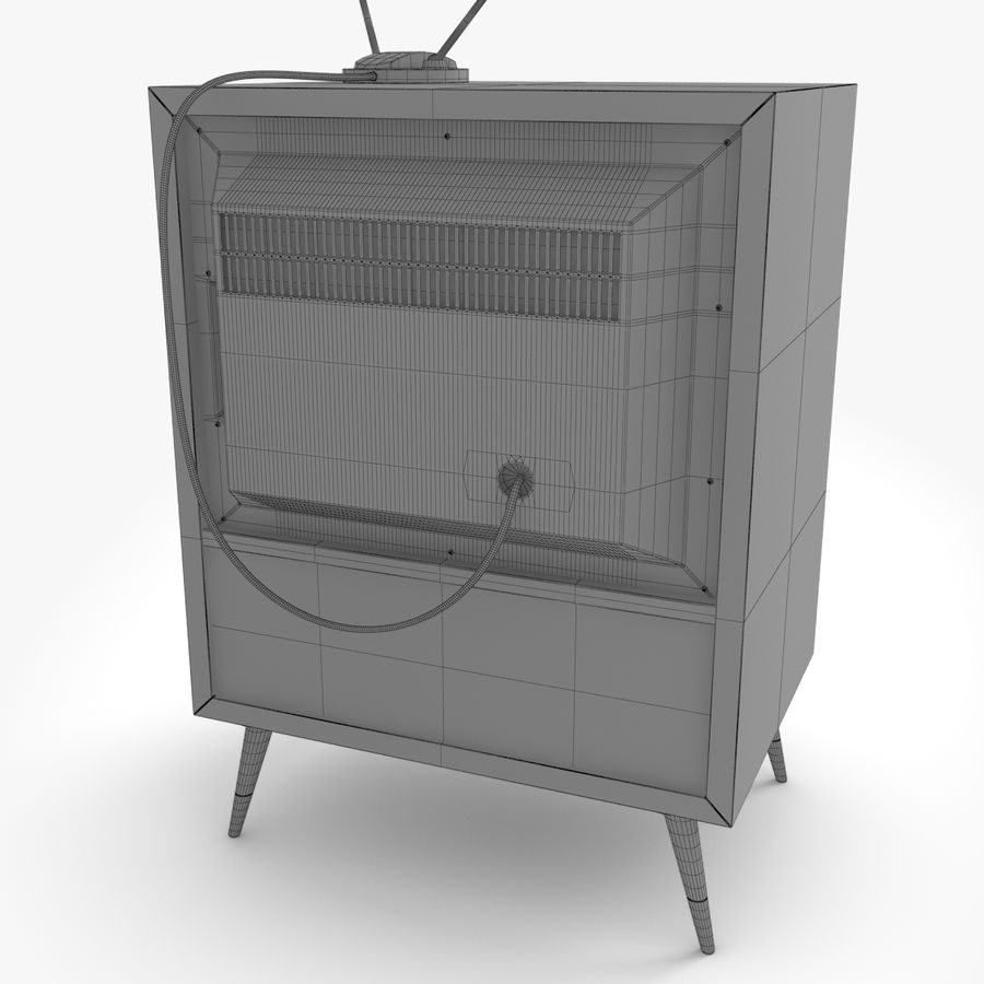 Retro television royalty-free 3d model - Preview no. 9