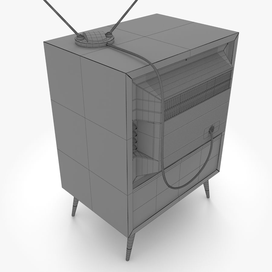 Retro television royalty-free 3d model - Preview no. 8