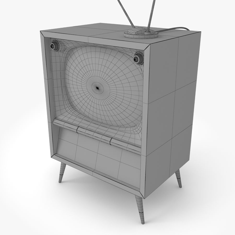 Retro television royalty-free 3d model - Preview no. 7