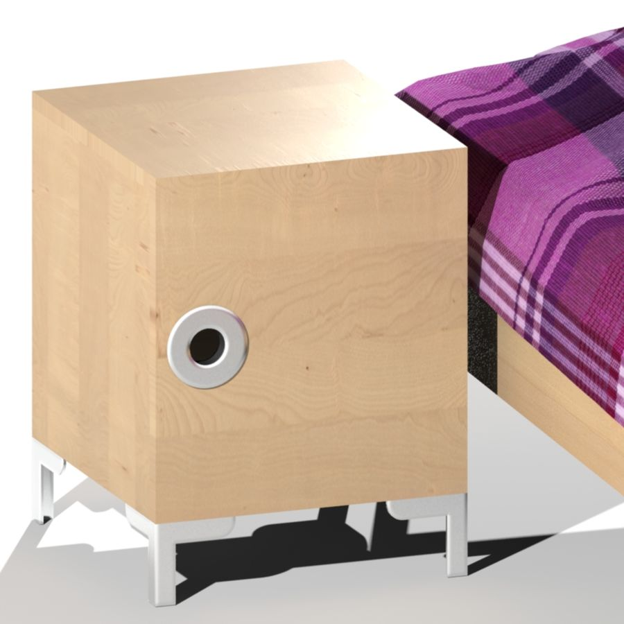 IKEA ENGAN Bedside Cabinet royalty-free 3d model - Preview no. 3