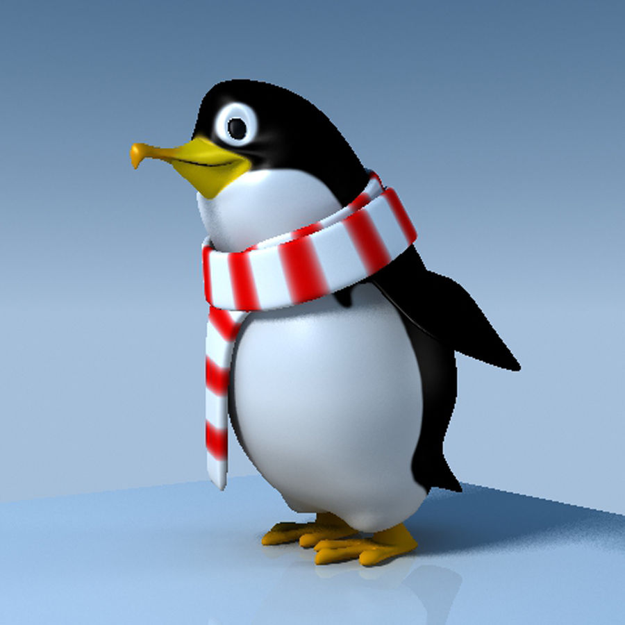 Penguin cartoon royalty-free 3d model - Preview no. 1