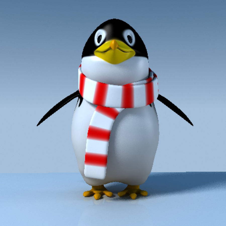 Penguin cartoon royalty-free 3d model - Preview no. 2