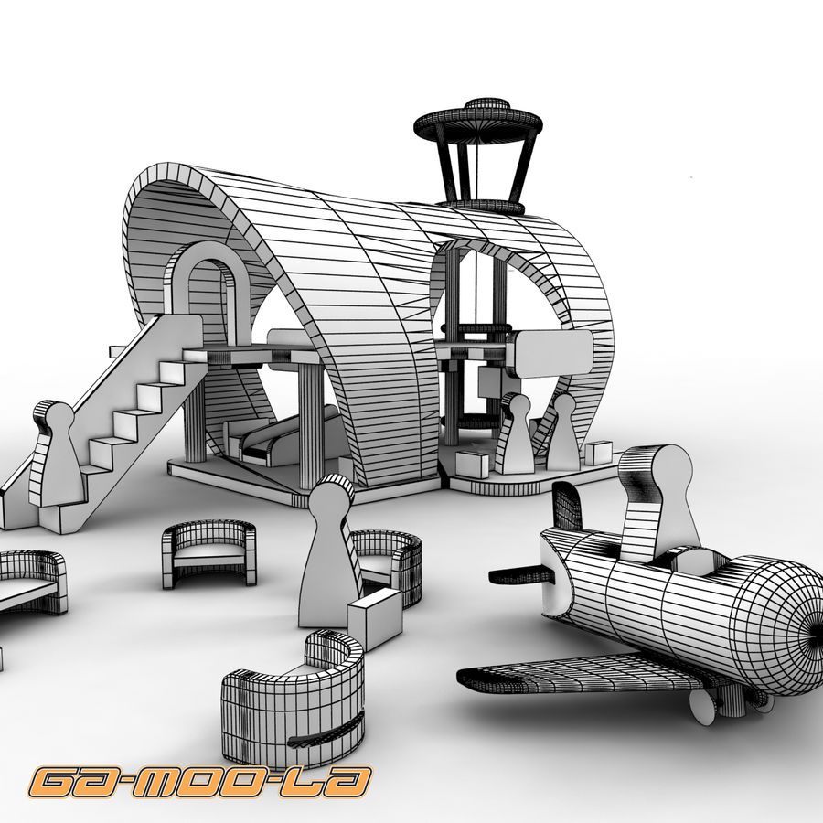 Toy Airport royalty-free 3d model - Preview no. 6