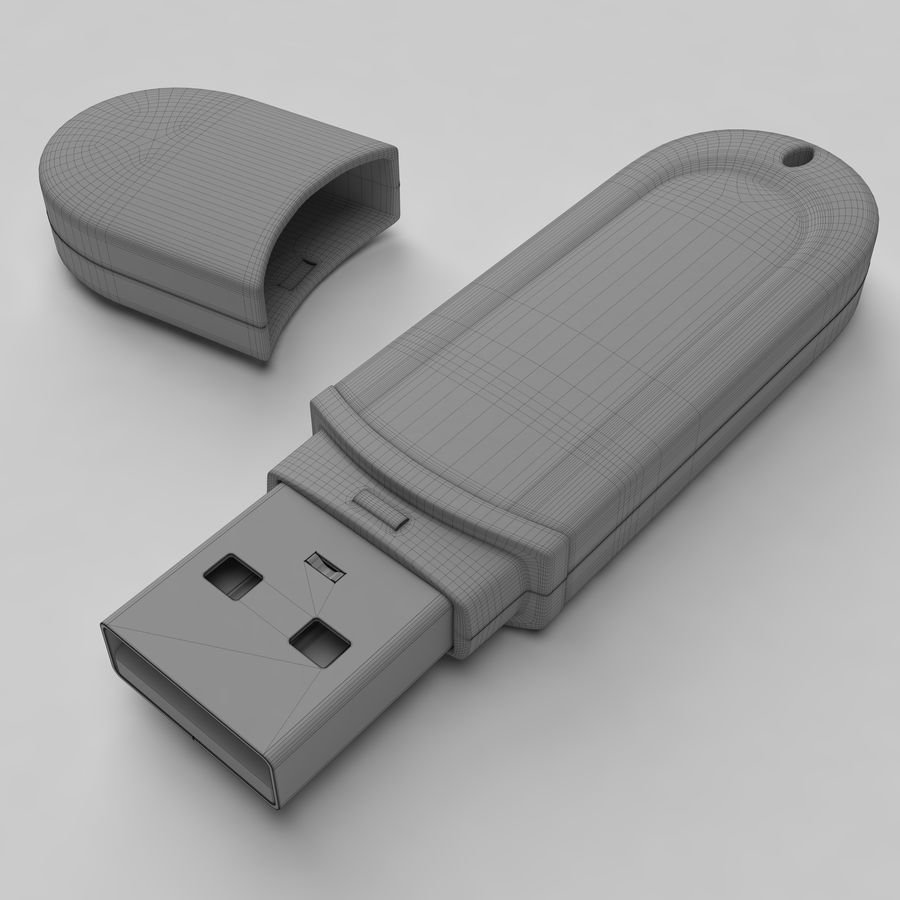 Transcend USB Flash Drive 1GB royalty-free 3d model - Preview no. 3