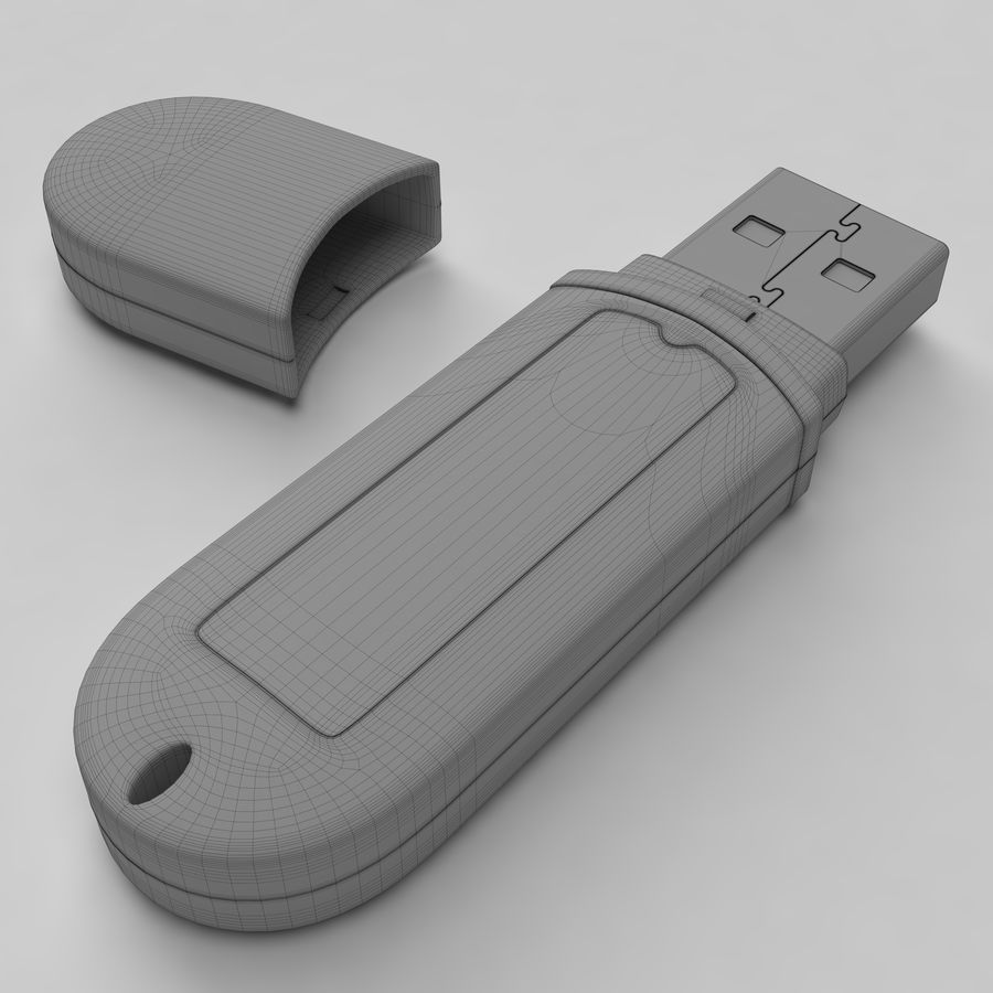Transcend USB Flash Drive 1GB royalty-free 3d model - Preview no. 4