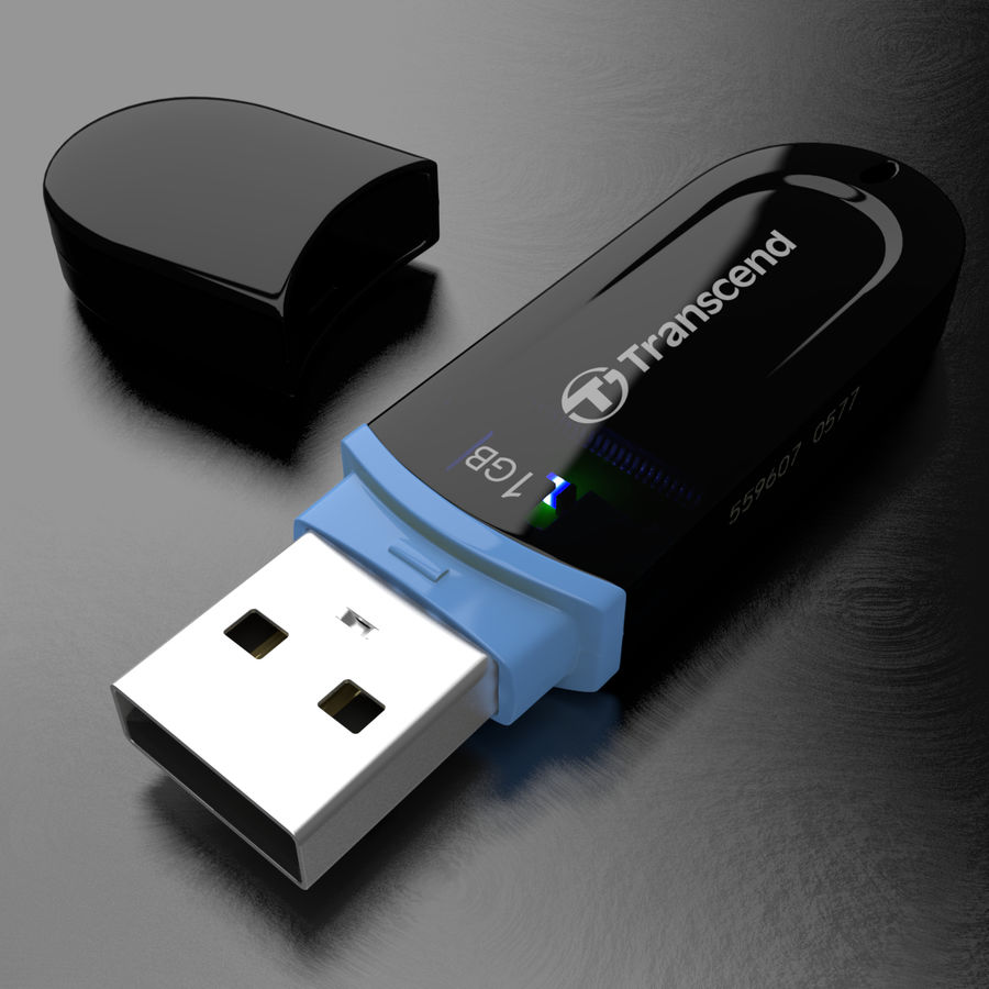 Transcend USB Flash Drive 1GB royalty-free 3d model - Preview no. 2