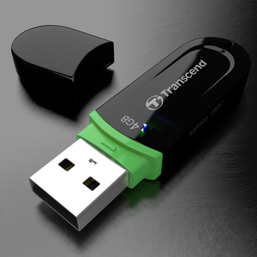 Transcend USB Flash Drive 4GB royalty-free 3d model - Preview no. 2