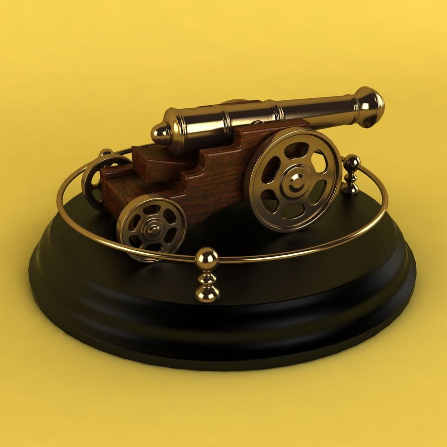 Antique Cannon Vintage royalty-free 3d model - Preview no. 2
