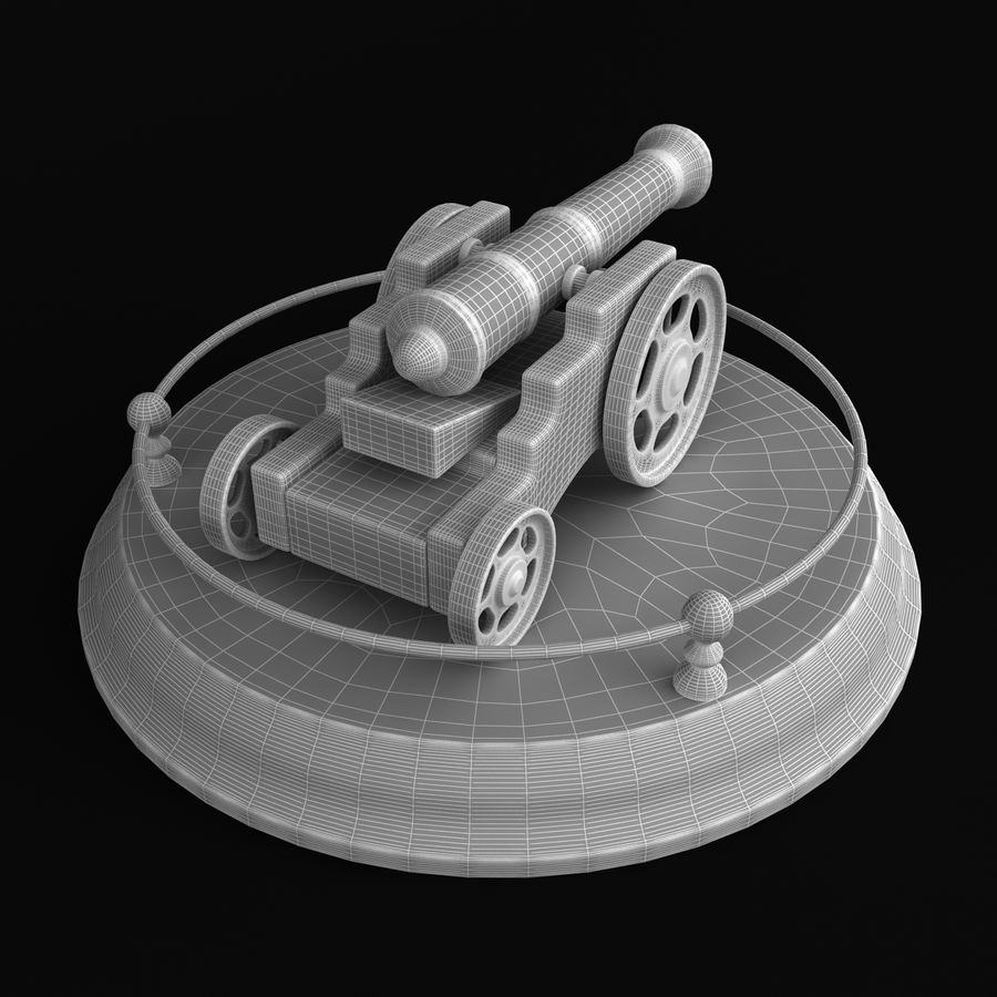Antique Cannon Vintage royalty-free 3d model - Preview no. 11