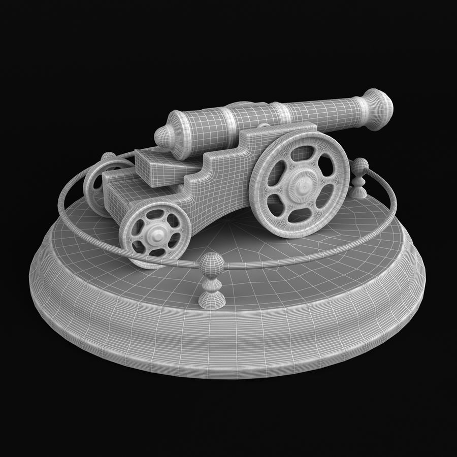 Antique Cannon Vintage royalty-free 3d model - Preview no. 9