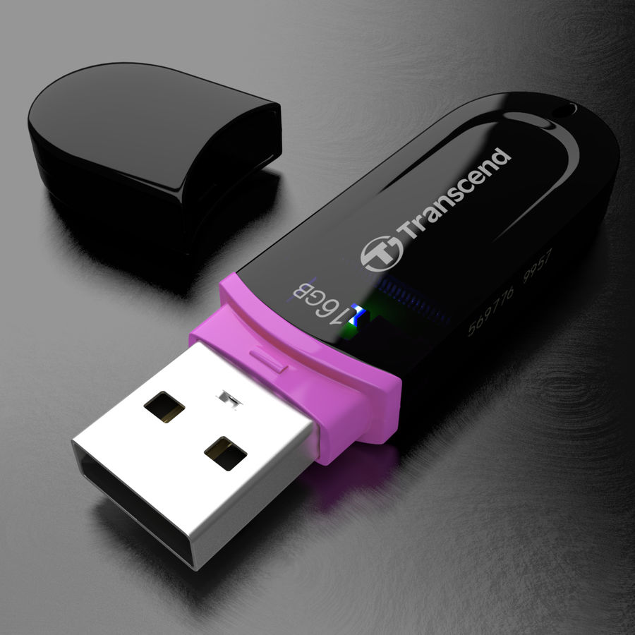 Transcend USB Flash Drive 16GB royalty-free 3d model - Preview no. 1