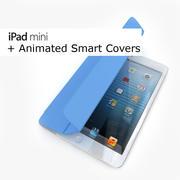 Apple iPad Mini svartvitt med smarta omslag animerade 3d model