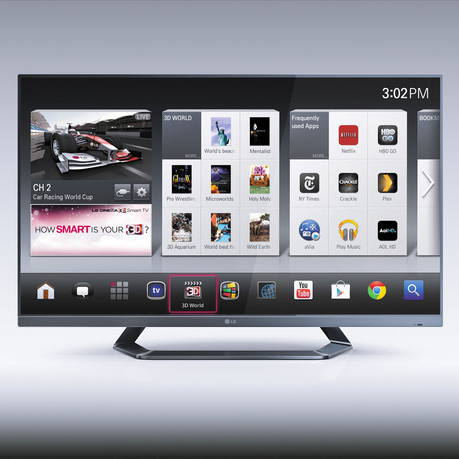 LG 55LM7600 led tv royalty-free 3d model - Preview no. 4